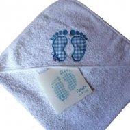 Badcape met naam en babyvoetjes baby voetjes, badcape, badcape met naam, omslagdoek