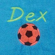 Handdoek met naam en oranje voetbal badtextiel, handdoek, handdoek met naam en voetbal, naam, voetbal
