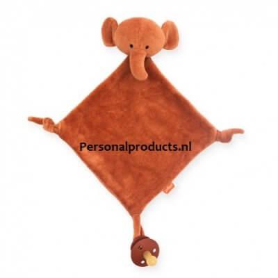 Speen knuffeldoek olifant bruin, geel, grijs, jollein, met naam, mustard, olifant, rust, speenknuffel, speenknuffels