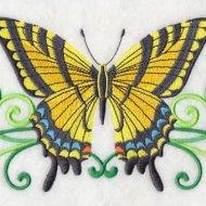 Koninginnenpage vlinder met bloemen