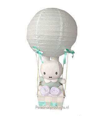 Luchtballon Nijntje mint babyshower, kraampakket, luchtballon, luchtballon nijntje mint, luiers in luchtballon, Nijntje