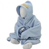 Babycape lichtblauw groot baby, baby badcape, babycapes, bad cape, badcape, badcape met naam, cape, cape met naam, consultatiebureau, omslag doek, omslagdoek, zwemmen