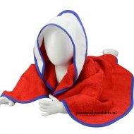 Babycape rood-wit-blauw baby, baby badcape, babycapes, bad cape, badcape, badcape met naam, cape, cape met naam, consultatiebureau, omslag doek, omslagdoek, zwemmen