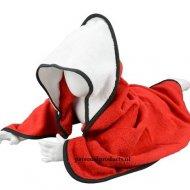Babycape rood-wit-zwart baby, baby badcape, babycapes, bad cape, badcape, badcape met naam, cape, cape met naam, consultatiebureau, omslag doek, omslagdoek, zwemmen