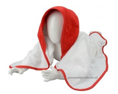 Babycape wit-rood baby, baby badcape, babycapes, bad cape, badcape, badcape met naam, cape, cape met naam, consultatiebureau, omslag doek, omslagdoek, zwemmen