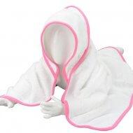Babycape wit-wit-roze baby, baby badcape, babycapes, bad cape, badcape, badcape met naam, cape, cape met naam, consultatiebureau, omslag doek, omslagdoek, zwemmen
