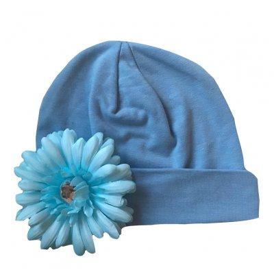 Muts blauw met naam en Daisy bloem blauw, daisy bloem, met naam, muts, muts met naam, mutsje, Mutsje met naam, mutsjes
