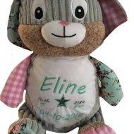 Patchwork konijn cubbies, fleurtje het roze konijn, geboorteblok, knuffel met naam, konijn, met naam, tommy het blauwe konijn