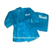 Geboortepakket badjas en handdoek A&R, babiezz, baby badjas, baby badjasjes, badjas met naam, handdoek, handdoek met naam