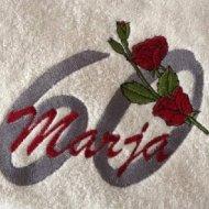 Handdoek met naam, leeftijd en roos badtextiel, handdoek, handdoek met naam, handdoek met naam en leeftijd, leeftijd, naam, roos, verjaardag