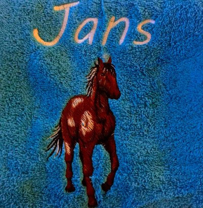 Handdoek met paard en naam badtextiel, handdoek, handdoek met naam, handdoek met paard, naam