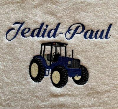 Handdoek naam en tractor badtextiel, handdoek, handdoek met naam, handdoek met tractor, john deere, naam