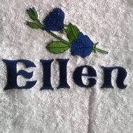 Handdoek met naam, en blauwe roos badtextiel, handdoek, handdoek met naam, naam, roos