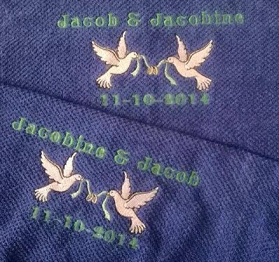 Handdoek met naam, trouwdatum en duiven badtextiel, duifjes, handdoek, handdoek met naam, naam, trouwdatum