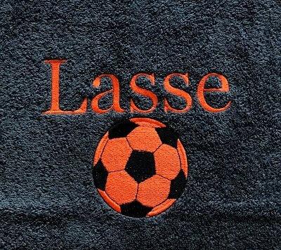 Handdoek voetbal oranje en naam badtextiel, handdoek, handdoek met naam en voetbal, naam, voetbal