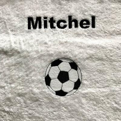 Handdoek voetbal met naam badtextiel, handdoek, handdoek met naam en voetbal, naam, voetbal