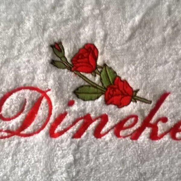Handdoek met naam, en rode roos badtextiel, handdoek, handdoek met naam, naam, roos