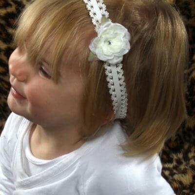 Kanten haarbandje met exclusief roosje babyhaarbandje, ballet, bruidsmeisje, bruiloft, dans, fotoshoot, geboorte, haarband, kanten haarband, Kanten haarbandje, satijnen strik, strik, verjaardag