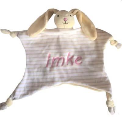 Knuffeldoek haas (let op nog 1 leverbaar) haas, knuffel, knuffeldoek, knuffeldoek met naam