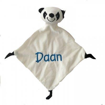 Pluche doek eend, kikker, teddy of panda eend, kikker, knuffeldoek, knuffeldoek met naam, panda, teddy
