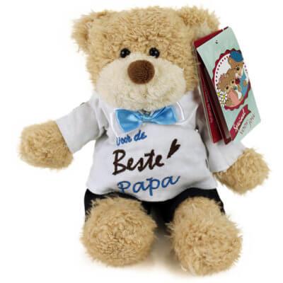 Pluche beer Kwikki voor de beste papa 22cm beer, jongens beer, voor de beste papa