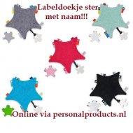 Labeldoekje ster knuffeldoek, labeldoek, labeldoekje, labeldoekje ster, met naam