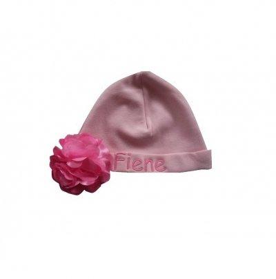 Muts roze met naam en roset met naam, muts, muts met naam, mutsen, mutsje, mutsjes