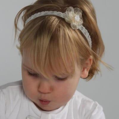 Haarbandje bloem met strass steentjes babyhaarbandje, ballet, bruidsmeisje, bruiloft, dans, fotoshoot, geboorte, haarband, kanten haarband, Kanten haarbandje, satijnen strik, strik, verjaardag