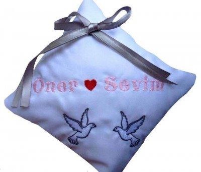 Ringkussen duifjes bruidskussen, met naam en datum, ringkussen, trouwkussens
