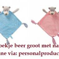 Tutdoekje beer groot knuffeldoek, labeldoek, speenknuffel, tutpop, tutpopje, tutpopje met naam, tutpoppetje, tutpoppetje met naam